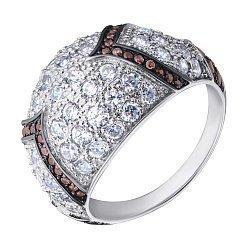 Серебряное кольцо с коньячными и белыми фианитами 000132871