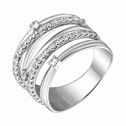 Кольцо в белом золоте Бренда с фианитами