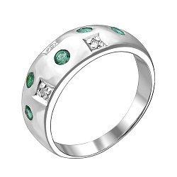 Серебряное кольцо с бриллиантами и изумрудами Mosaic