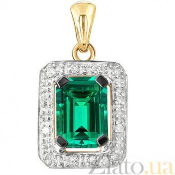 Золотая подвеска с изумрудом и бриллиантами Синьора KBL--П204/крас/изум