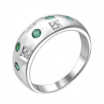 Серебряное кольцо с бриллиантами и изумрудами 000019084