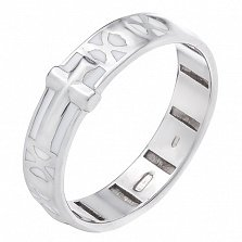 Серебряное кольцо Крестовик с белой эмалью