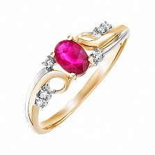 Золотое кольцо Эльза в комбинированном цвете с рубином и бриллиантами