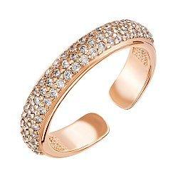 Фаланговое серебряное кольцо с позолотой и фианитами 000119250