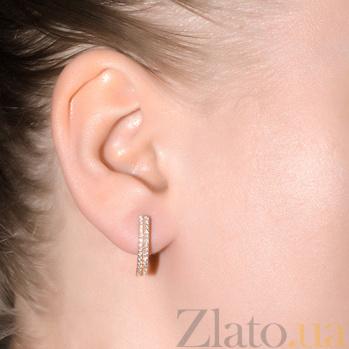 Золотые серьги Валерия с белым цирконием Анфия VLT--М2533