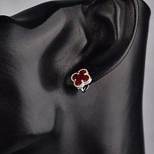 Серебряные серьги Ванесса с цветочками и красно-оранжевым сердоликом в стиле Ван Клиф