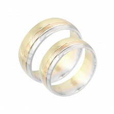 Обручальное кольцо из комбинированного золота Счастливый союз