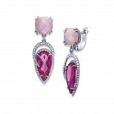Серебряные серьги-подвески Марина с розовым хризопразом и фианитами