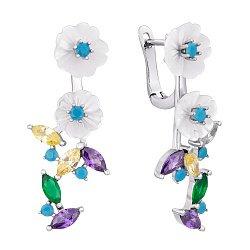 Серебряные серьги Изящные цветы с перламутром и разноцветными фианитами