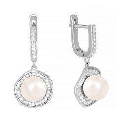 Срібні сережки-підвіски з перлами 000024619