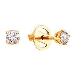 Серьги-пуссеты в желтом золоте Sweet Heart с бриллиантами, 0,3ct 000070489