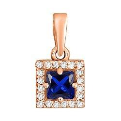 Золотой кулон квадратной формы в красном цвете с синим и белыми фианитами 000116670