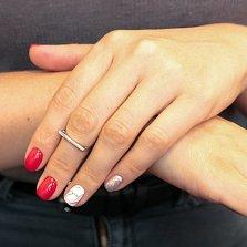 Серебряное кольцо Ушки в минималистичном стиле с родиевым покрытием