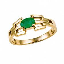 Золотое кольцо в красном цвете с изумрудом Эдита
