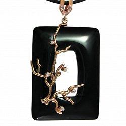 Колье из золота Бонсай Сакура с ониксом и фианитами на кожаном шнурке