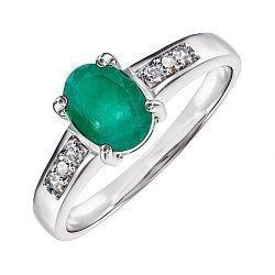 Серебряное кольцо с изумрудом и фианитами 000145067