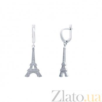 Серебряные серьги Эйфелева Башня  AQA--2889