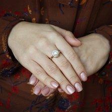 Кольцо в красном золоте Даная с жемчугом и фианитами