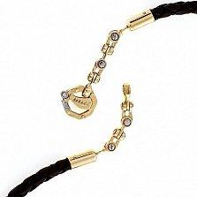 Кожаный шнурок со вставками золотой цепи Baraka Эвард