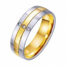 Золотое обручальное кольцо Волшебная любовь с фианитами