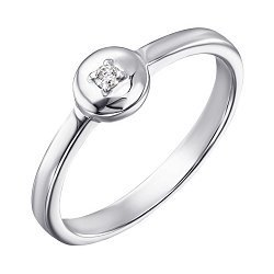 Серебряное кольцо с бриллиантом 000123333