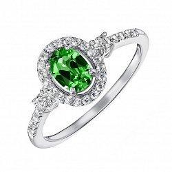 Серебряное кольцо с изумрудом и фианитами 000134502