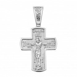 Серебряный  двусторонний крестик 000122859