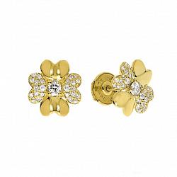 Золотые серьги-пуссеты Брайдал Вейл в желтом цвете в форме цветочков с бриллиантами