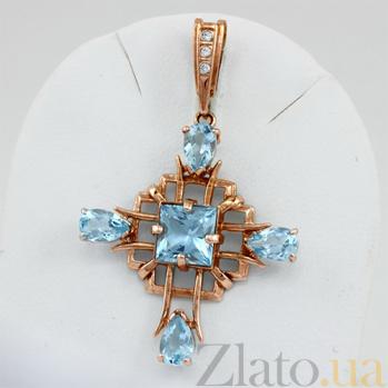 Золотой крестик Процветание с топазами и фианитами VLN--114-439-1