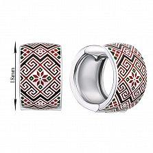 Серебряные серьги-конго с разноцветной эмалью и родированием 000133737