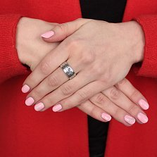 Серебряное кольцо Народная вышивка с черненым узором