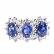 Золотое кольцо с сапфирами и бриллиантами Открытое море