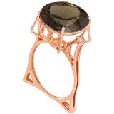 Золотое кольцо с раухтопазом и фианитами Диодора