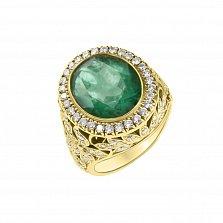 Золотой перстень Грезы султана с изумрудом и бриллиантами