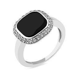 Серебряное кольцо с ониксом и фианитами 000149501