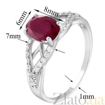 Серебряное кольцо Тропикана с рубином и фианитами 1905/9р руб