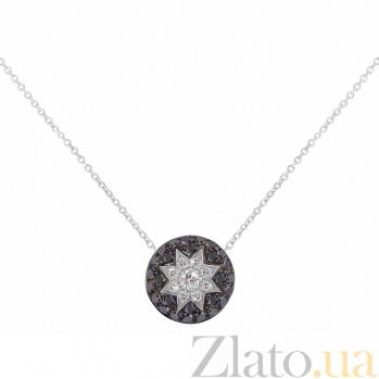 Колье из белого золота Счастливая звезда с черными и белыми бриллиантами 000081042