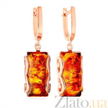 Золотые серьги с янтарем Белинда SUF--104145