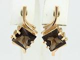 Золотые сережки с раухтопазами Ирэна