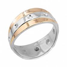 Серебряное кольцо с золотыми вставками Анита