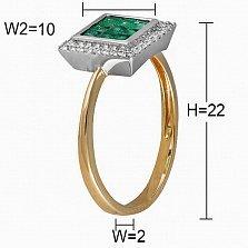 Кольцо из желтого и белого золота Квадро с бриллиантами и изумрудами