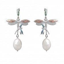 Серебряные серьги-подвески Летние стрекозы с жемчугом, эмалью и фианитами