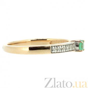 Золотое кольцо в красном цвете с изумрудом и бриллиантами Хлоя ZMX--RE-6695_K