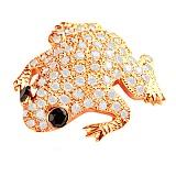 Брошь из красного золота с бриллиантами Сказочная лягушка
