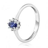 Золотое кольцо с иолитом и бриллиантами Бриджит