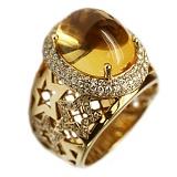 Золотое кольцо Ингрид с цитрином и бриллиантами