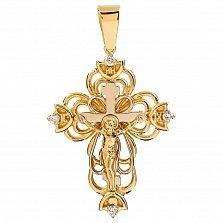 Крест из желтого золота с бриллиантами Солнечное небо