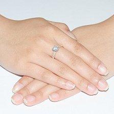 Золотое кольцо Мадина в красном цвете с фианитами