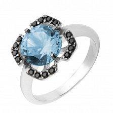 Серебряное кольцо Ноэль с голубым топазом и черными фианитами