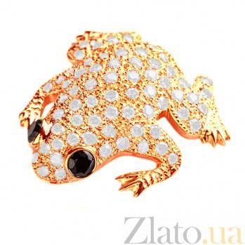 Брошь из красного золота с бриллиантами Сказочная лягушка Br0683